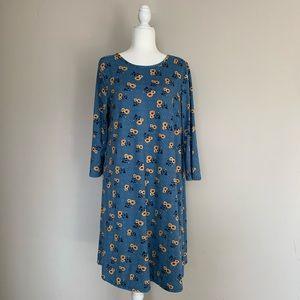 Jamie & Layla Blue Floral Long Sleeve Dress